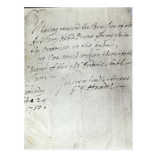 Cartão Postal Letra de George Frederick Handel