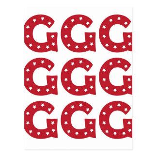 Cartão Postal Letra G - Estrelas brancas na obscuridade -