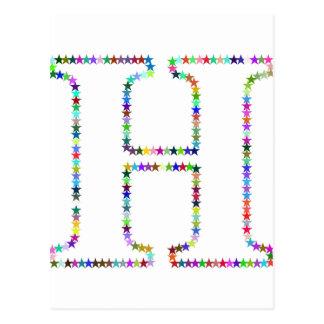 Cartão Postal Letra H da estrela do arco-íris