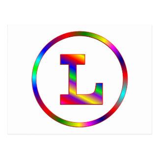 Cartão Postal Letra L arco-íris