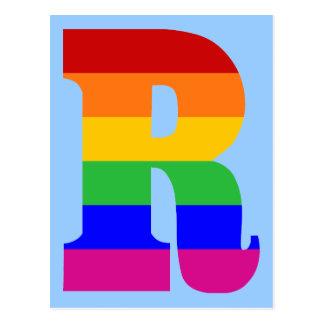 Cartão Postal Letra R do arco-íris