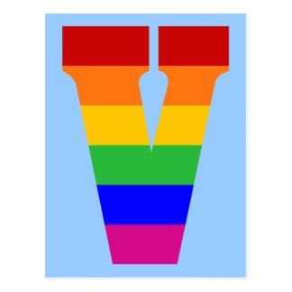Cartão Postal Letra V do arco-íris