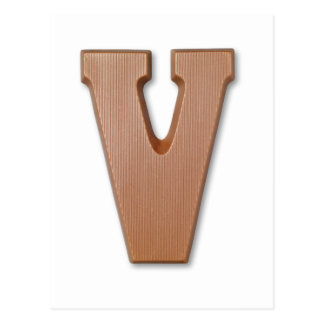 Cartão Postal letra V do chocolate