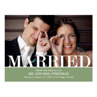 Cartão Postal Letras corajosas que Wedding o anúncio