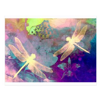 Cartão Postal Libélulas da pintura