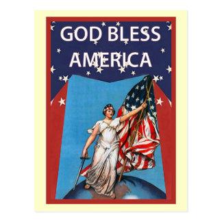 Cartão Postal Libert e a bandeira dos Estados Unidos