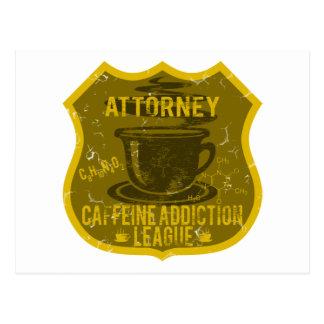 Cartão Postal Liga do vício da cafeína do advogado