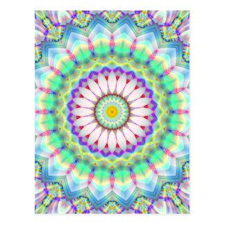 Cartão Postal Lightblue dos retalhos da mandala criado por Tutti