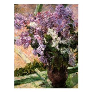 Cartão Postal Lilacs em uma janela por Mary Cassatt