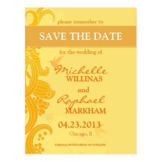 Cartão Postal Limão - pássaros amarelos que Wedding economias a