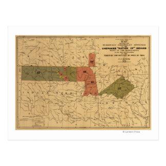 """Cartão Postal Limites anteriores de """"nação Cherokee"""" de indianos"""