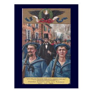 Cartão Postal Lincoln que visita Richmond VA em 1865