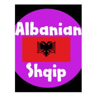 Cartão Postal Língua de Albânia e design da bandeira