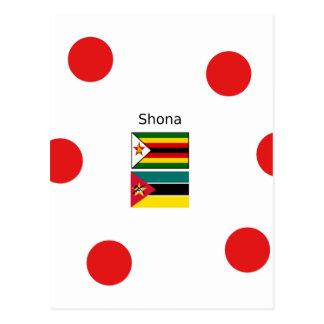 Cartão Postal Língua de Shona e bandeiras de Zimbabwe e de