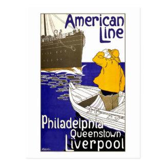 Cartão Postal Linha americana design do poster de viagens