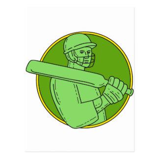 Cartão Postal Linha do círculo do batedor do jogador do grilo