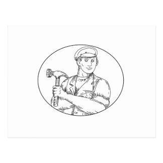 Cartão Postal Linha do martelo do carpinteiro do vintage mono