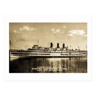 Cartão Postal Linha navio a vapor Washington Irving do dia do