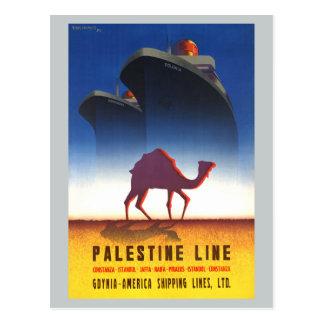 Cartão Postal Linha navio de Palestina das viagens vintage