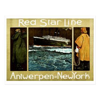 Cartão Postal Linha vermelha Antwerpen da estrela a New York