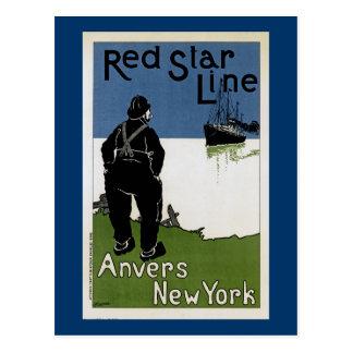 Cartão Postal Linha vermelha da estrela