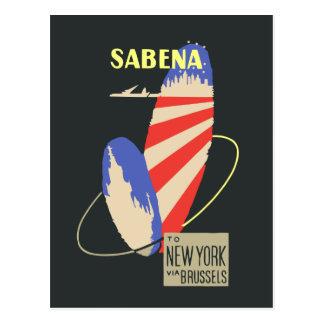 Cartão Postal Linhas aéreas retros de Sabena a New York através