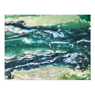 Cartão Postal Linhas de pintura brancas do abstrato de turquesa