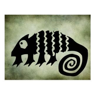 Cartão Postal linocut tribal africano antigo dos símbolos