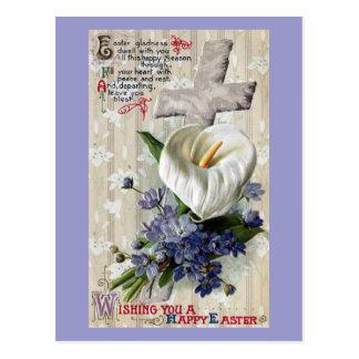 Cartão Postal Lírio de Calla e páscoa do vintage da cruz
