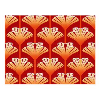 Cartão Postal Lírio do art deco, laranja da tangerina e ouro