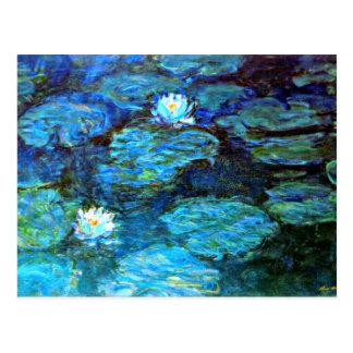 Cartão Postal Lírios de água (azuis) por Claude Monet
