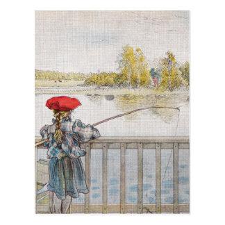 Cartão Postal Lisbeth uma pesca da menina por Carl Larsson