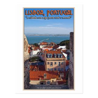 Cartão Postal Lisboa - barco no Tejo