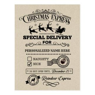 Cartão Postal Lista agradável expressa da entrega especial do