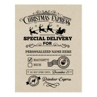 Cartão Postal Lista IMPERTINENTE expressa da entrega especial do