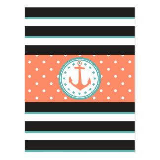 Cartão Postal Listras & âncora náuticas (coral/turquesa)
