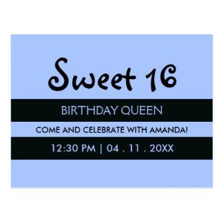 Cartão Postal Listras brandamente azuis & pretas - aniversário