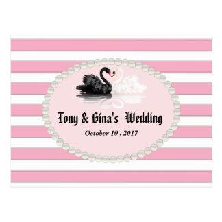 Cartão Postal Listras & cisnes cor-de-rosa que Wedding RSVP