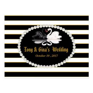 Cartão Postal Listras & cisnes pretas que Wedding RSVP