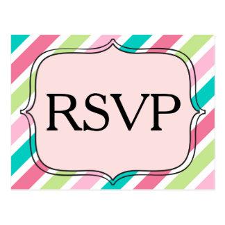 Cartão Postal Listras cor-de-rosa de RSVP e azuis diagonais