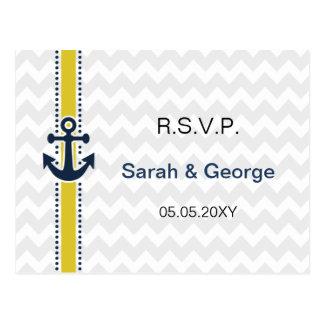 Cartão Postal listras da viga, âncora, rsvp náutico do casamento