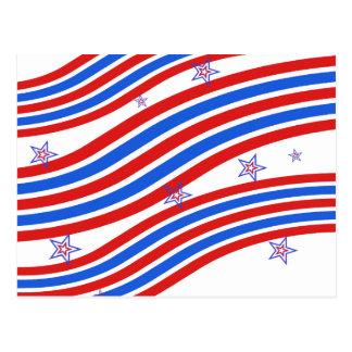 Cartão Postal Listras e estrela brancas e azuis vermelhas