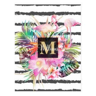 Cartão Postal listras florais tropicais das folhas e dos