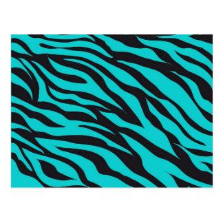 Cartão Postal Listras na moda da zebra do preto de turquesa da