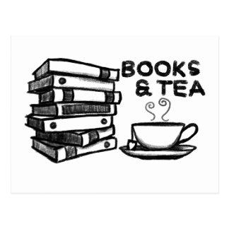 Cartão Postal Livros & chá tirados mão