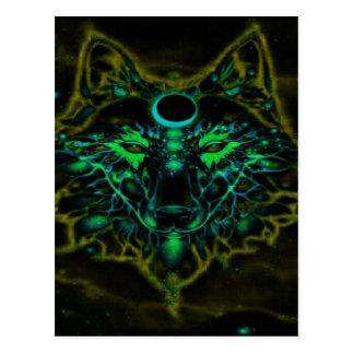 Cartão Postal Lobo amarelo de néon Mythical