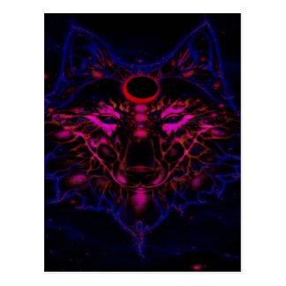 Cartão Postal Lobo azul de néon Mythical