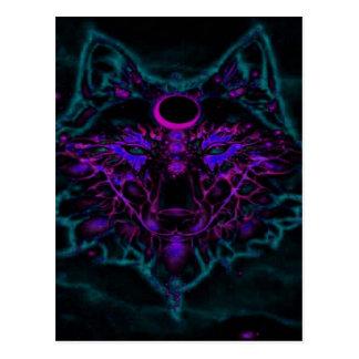 Cartão Postal Lobo de néon Mythical da cerceta