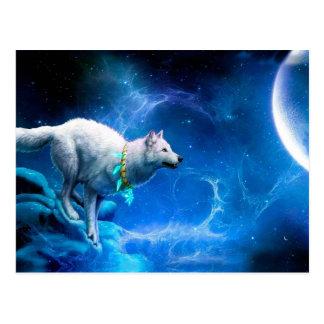 Cartão Postal Lobo e lua