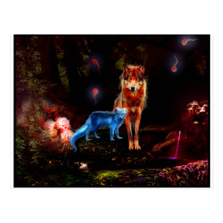 Cartão Postal Lobo Mystical e Fox